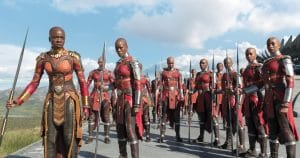 Marvel Studios' BLACK PANTHER L to R: Okoye (Danai Gurira) and Ayo (Florence Kasumba) with the Dora Milaje Ph: Film Frame