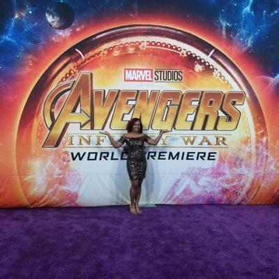 ari adams at the red carpet premiere of Avengers: Infinity War