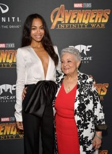 HOLLYWOOD, CA - APRIL 23: Actor Zoe Saldana (L) attends the Los Angeles Global Premiere for Marvel Studios' Avengers: Infinity War on April 23, 2018 in Hollywood, California. (Photo by Matt Winkelmeyer/Getty Images for Disney) *** Local Caption *** Zoe Saldana and mother