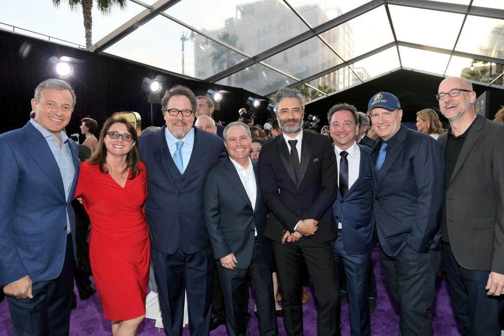 (L-R) The Walt Disney Company Chairman and CEO Bob Iger, Executive Producers Victoria Alonso and Jon Favreau, Walt Disney Studios President Alan Bergman, Taika Waititi, Executive Producer Louis D'Esposito, President of Marvel Studios and Producer Kevin Feige, and director Peyton Reed attend the Los Angeles Global Premiere for Marvel Studios' Avengers: Infinity War on April 23, 2018 in Hollywood, California. (Photo by Charley Gallay/Getty Images for Disney) *** Local Caption *** Victoria Alonso; Jon Favreau; Alan Bergman; Bob Iger; Louis D'Esposito; Kevin Feige; Taika Waititi; Peyton Reed