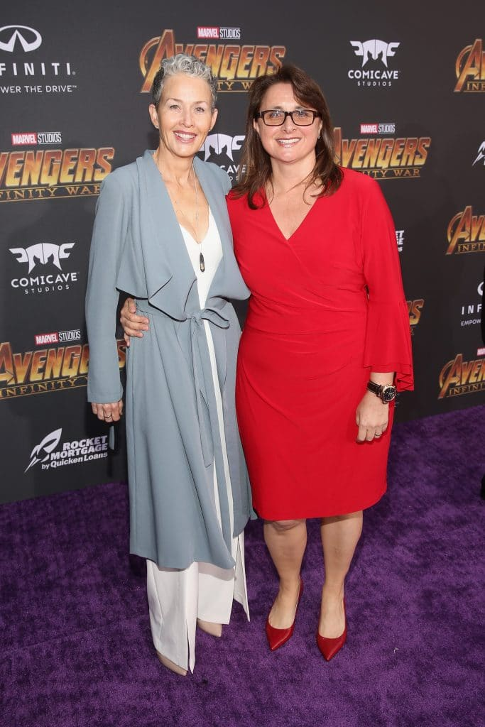 HOLLYWOOD, CA - APRIL 23: Actor Imelda Corcoran (L) and executive producer Victoria Alonso attend the Los Angeles Global Premiere for Marvel Studios' Avengers: Infinity War on April 23, 2018 in Hollywood, California.