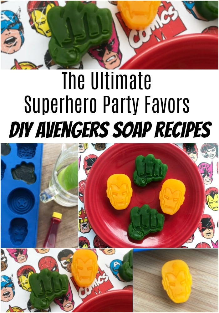 One of the coolest things to try for your superhero party favors would be some fun sized soaps in the shapes of superheroes!  Homemade soaps are actually really easy to make and super cost effective. Check out this fun DIY soap recipe for Iron Man, Incredible Hulk and Avengers Soaps!