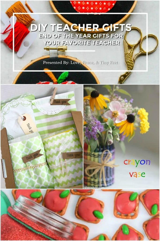 Still haven't found the perfect end of the year teacher's gift for your child's teacher? That's okay! I have MORE great DIY teacher gift ideas to share with you! Click on the links below to read the tutorials for my favorite teacher gifts. Please leave a comment letting my friends know you found them at Love, Peace, & Tiny Feet