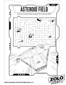 Han Solo maze activity sheet for kids