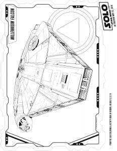 Han Solo Millennial Falcon coloring sheet for kids printable