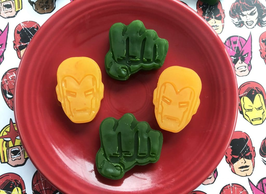 Superhero party favors idea - DIY Iron Man and Hulk Soaps