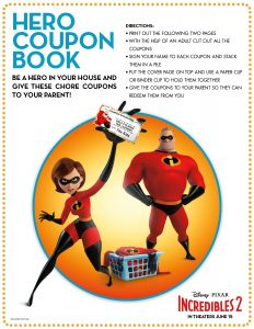 coupon book from Incredibles 2