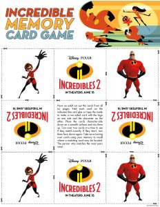 incredibles 2 disney kids memory game