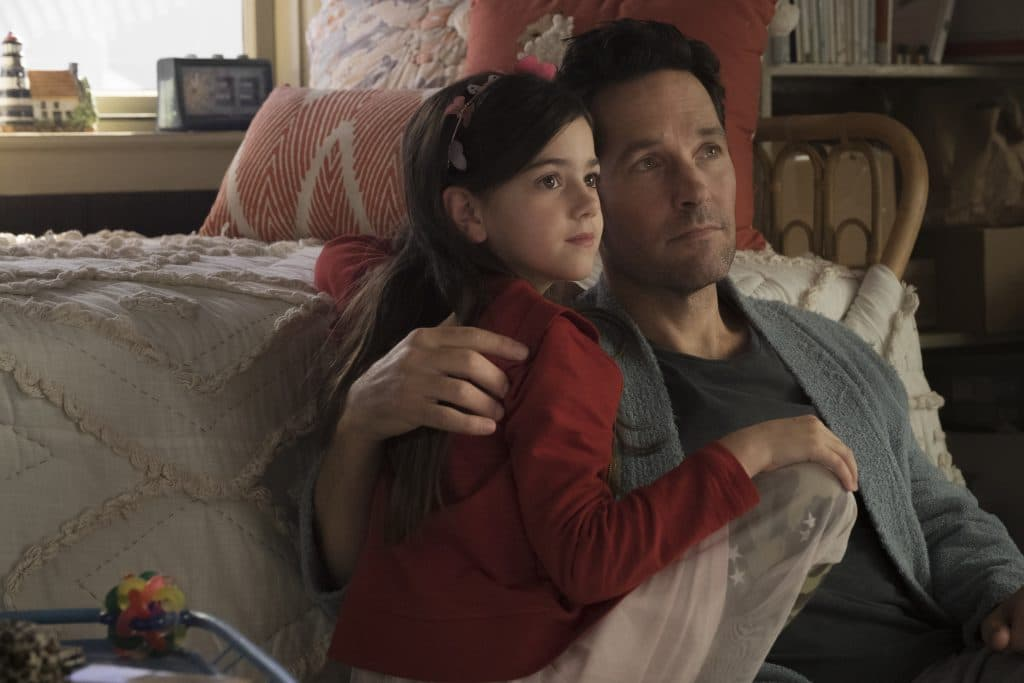 Marvel Studios ANT-MAN AND THE WASP..L to R: Cassie Lang (Abby Ryder Fortson) and Ant-Man/Scott Lang (Paul Rudd) ..Photo: Ben Rothstein..