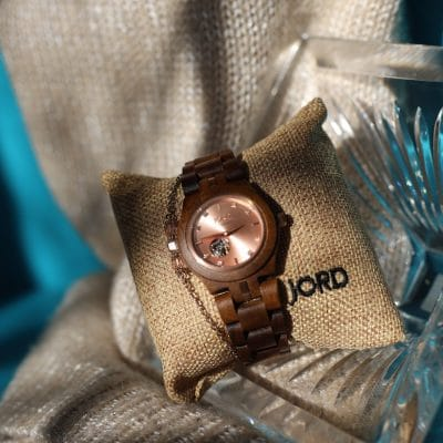 Be Brave, Bold & Fearless with the timeless Cora Koa Rose Gold Jord Watch