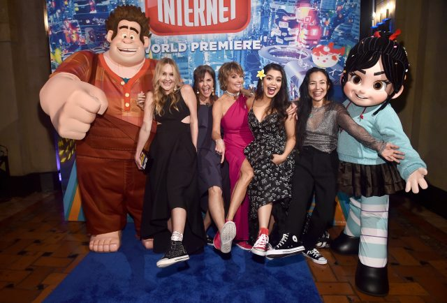 "HOLLYWOOD, CA - NOVEMBER 05: (L-R) Actors Linda Larkin, Jennifer Hale, Paige O'Hara, Auli'i Cravalho, and Irene Bedard attend the World Premiere of Disney's ""RALPH BREAKS THE INTERNET"" at the El Capitan Theatre on November 5, 2018 in Hollywood, California. (Photo by Alberto E. Rodriguez/Getty Images for Disney) *** Local Caption *** Linda Larkin; Jennifer Hale; Paige O'Hara; Auli'i Cravalho; Irene Bedard"