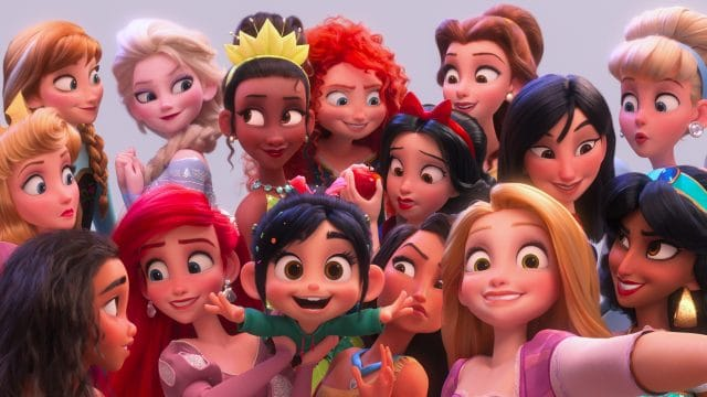 "Ralph Breaks the Internet, Vanellope von Schweetz hits the internet where she encounters and then befriends the Disney princesses. Filmmakers invited the original voice talent to return to the studio to help bring their characters to life, including Sarah Silverman (Vanellope in ""Ralph Breaks the Internet""), Auli'i Cravalho (""Moana""), Kristen Bell (Anna in ""Frozen""), Idina Menzel (Elsa in ""Frozen""), Kelly MacDonald (Merida in ""Brave""), Mandy Moore (Rapunzel in ""Tangled""), Anika Noni Rose (Tiana in ""The Princess and the Frog""), Ming-Na Wen (""Mulan""), Irene Bedard (""Pocahontas""), Linda Larkin (Jasmine in ""Aladdin""), Paige O'Hara (Belle in ""Beauty and the Beast""), and Jodi Benson (Ariel in ""The Little Mermaid""). ©2018 Disney. All Rights Reserved."