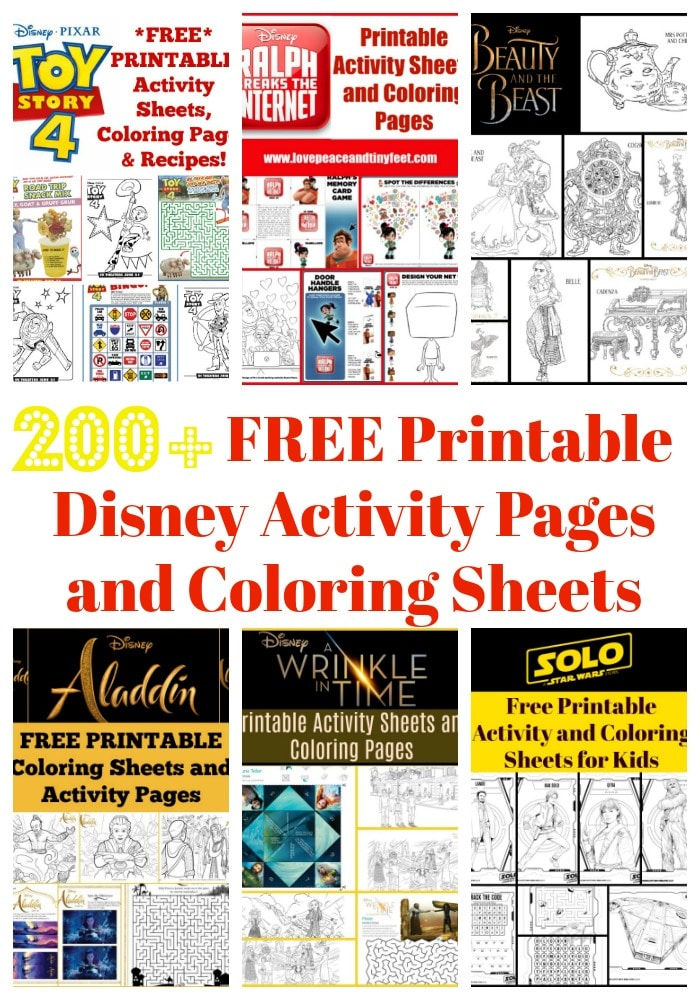 Over 200 FREE Disney Printables to download - Activity Sheets, Coloring Pages and Recipes