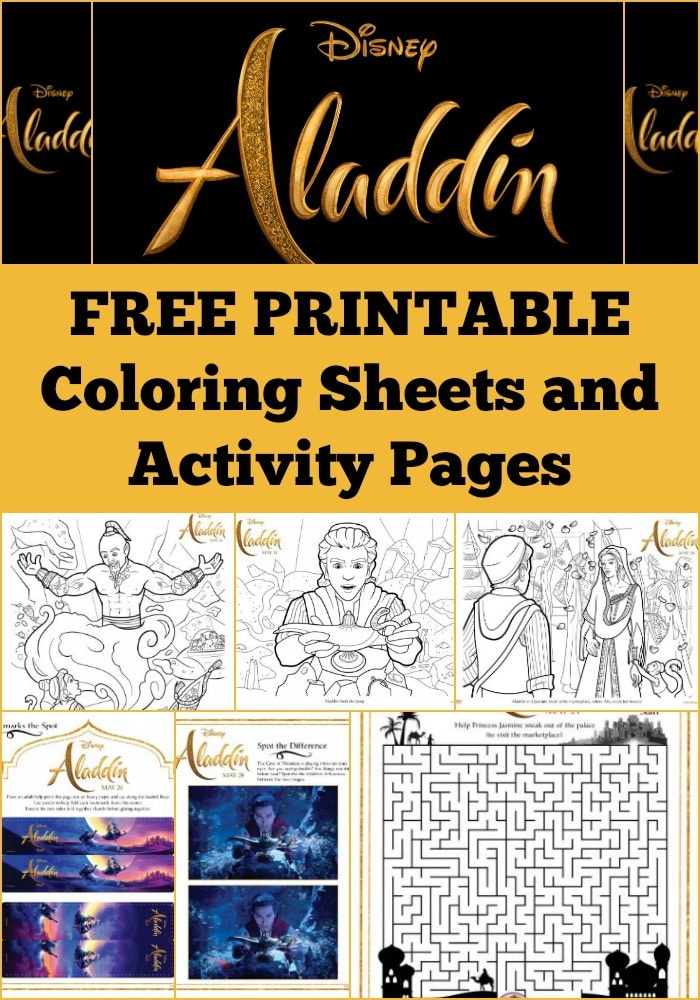 Here are some free printable Aladdin coloring pages and activity sheets from Disney's Aladdin movie the kids will love! Great indoor activity for kids.