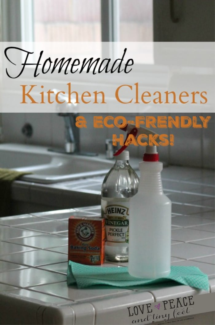 6 Extremely Easy Green and Eco-Friendly Homemade Kitchen Cleaners, including Homemade Stainless Steel Cleaner, How to Clean Your Dishwasher, Homemade Dishwasher Detergent, Homemade Wood Floor Cleaner, Homemade Pine Sol, and how to Steam Clean Your Microwave.