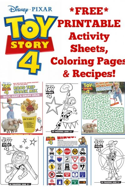 FREE Disney Printable Toy Story 4 Recipes, Activity Sheets, & Coloring Pages