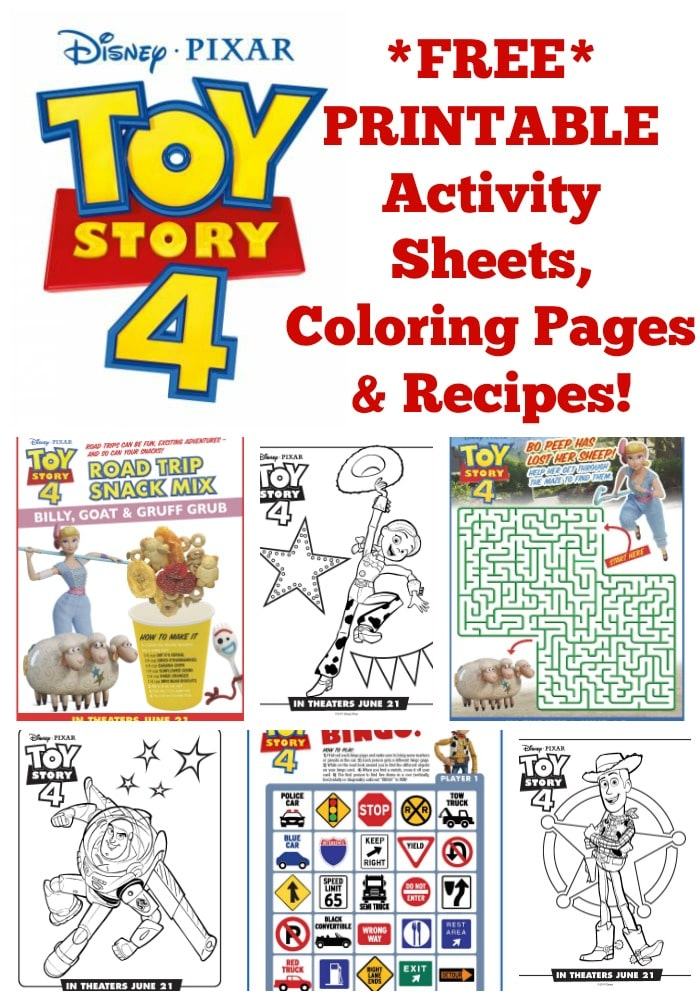 FREE Disney Printable Toy Story 4 Recipes, Activity Sheets ...