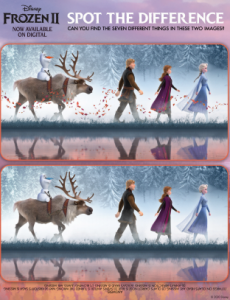 Disney Frozen 2 Activities for kids - Spot the Difference